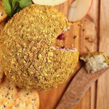 Vegan Cheeseball on a cutting board