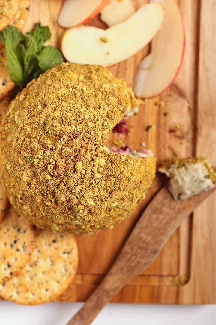 Vegan Cheeseball on a cutting board