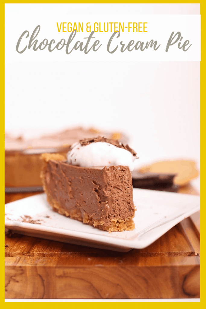 This creamy vegan chocolate pie is the perfect pie for your holidays. Made with a gluten-free graham cracker pie crust and with just 6 ingredients, it's a quick and easy dessert that the whole family can enjoy. Rich, decadent, and delicious!