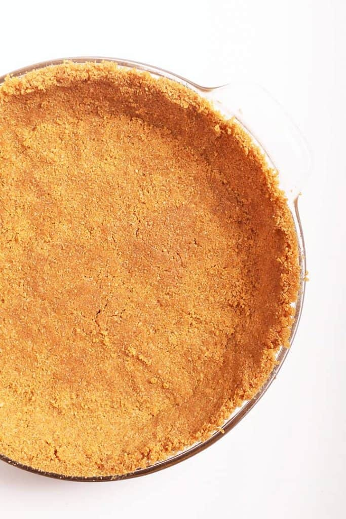 Close up homemade graham cracker crust