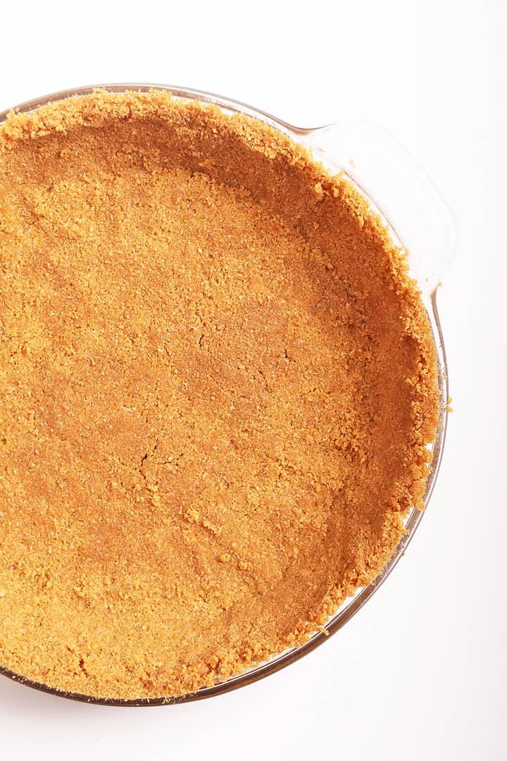 Graham Cracker pie crust in a pie pan