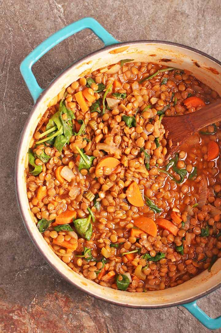 Lentil Soup Recipe in a large cast iron soup pot