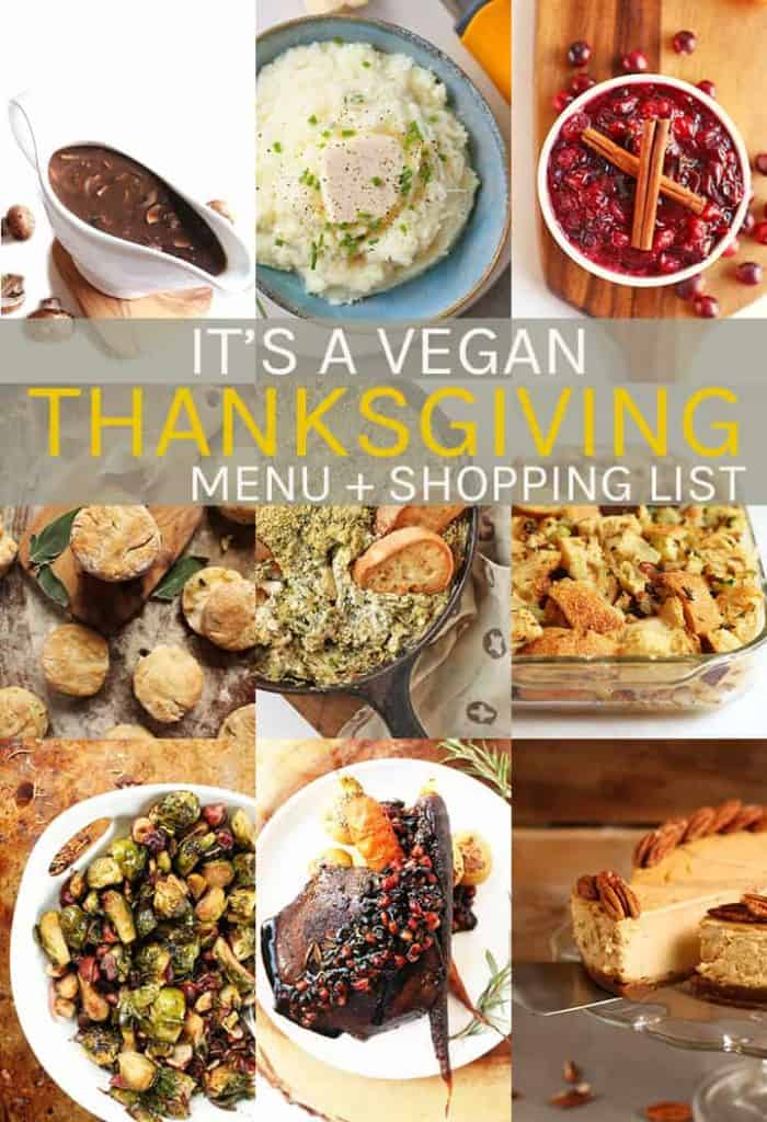 Simplify your vegan Thanksgiving with this holiday menu + shopping guide. Step-by-step directions for this nine plant-based recipe + printable recipes and shopping list for a delicious vegetarian holiday meal.
