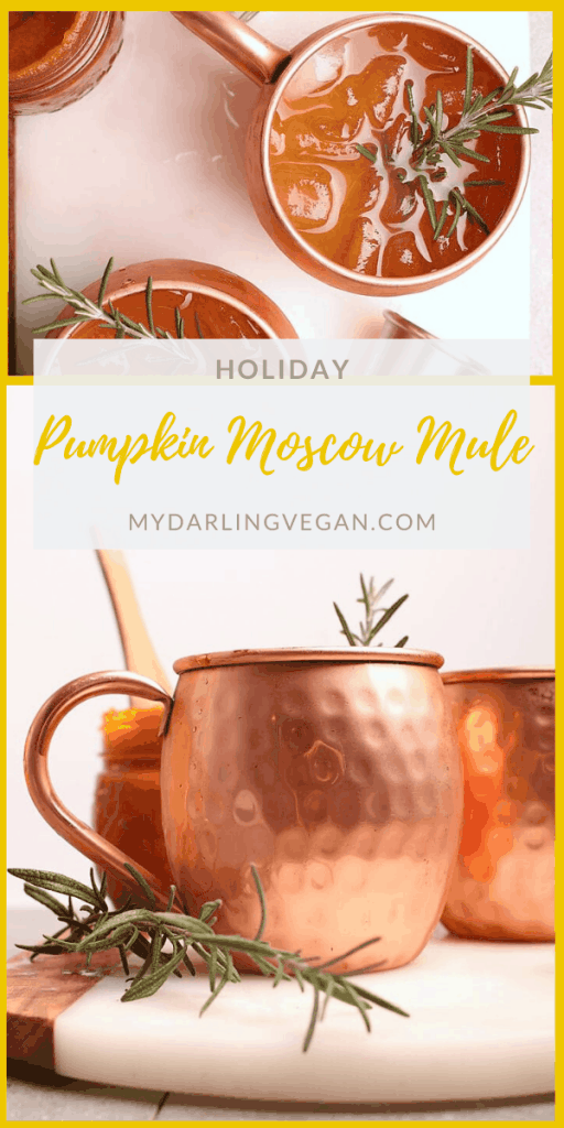 Enjoy a seasonal twist on this Moscow Mule recipe. Mixed with homemade pumpkin butter and fresh rosemary, this is the perfect cocktail to serve at your holiday parties all season long.