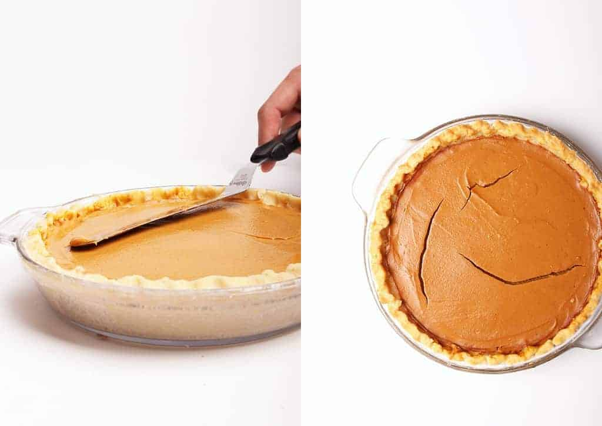 Custard poured into prepared pie shell