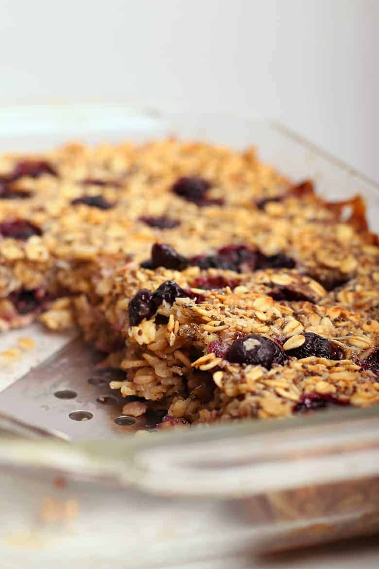 Close up of vegan baked oatmeal with spatula