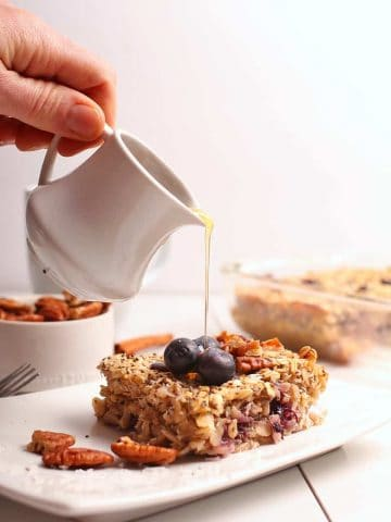 Vegan baked oatmeal with blueberries and coconut