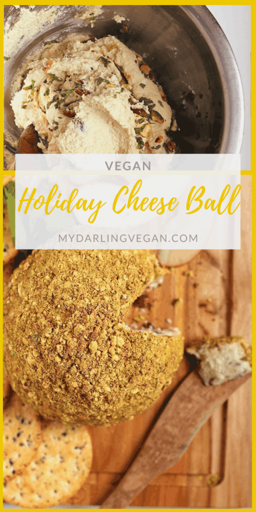 This Pistachio and Pomegranate Macadamia Nut Vegan Cheese Ball makes the perfect appetizer for your next holiday party. Serve with fruit and crackers for an impressive plant-based addition to your Christmas charcuterie. Made with just 10 ingredients!