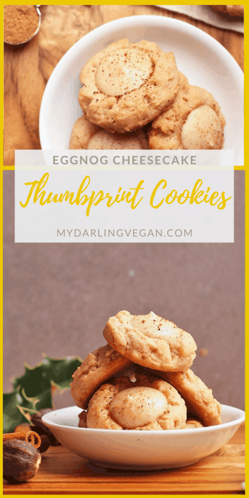 A spiced butter cookie filled with creamy eggnog-flavored cheesecake, these vegan Eggnog Thumbprint Cookies are the ultimate holiday cookie. Sure to impress!