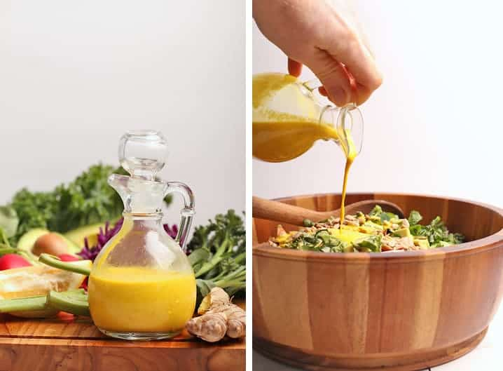 Detox Salad with Lemon Ginger Turmeric Dressing