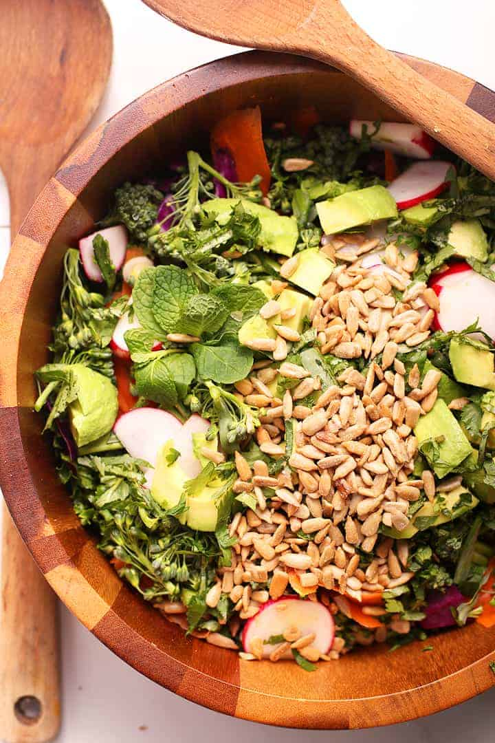 Green Detox Salad in a large wooden bowl