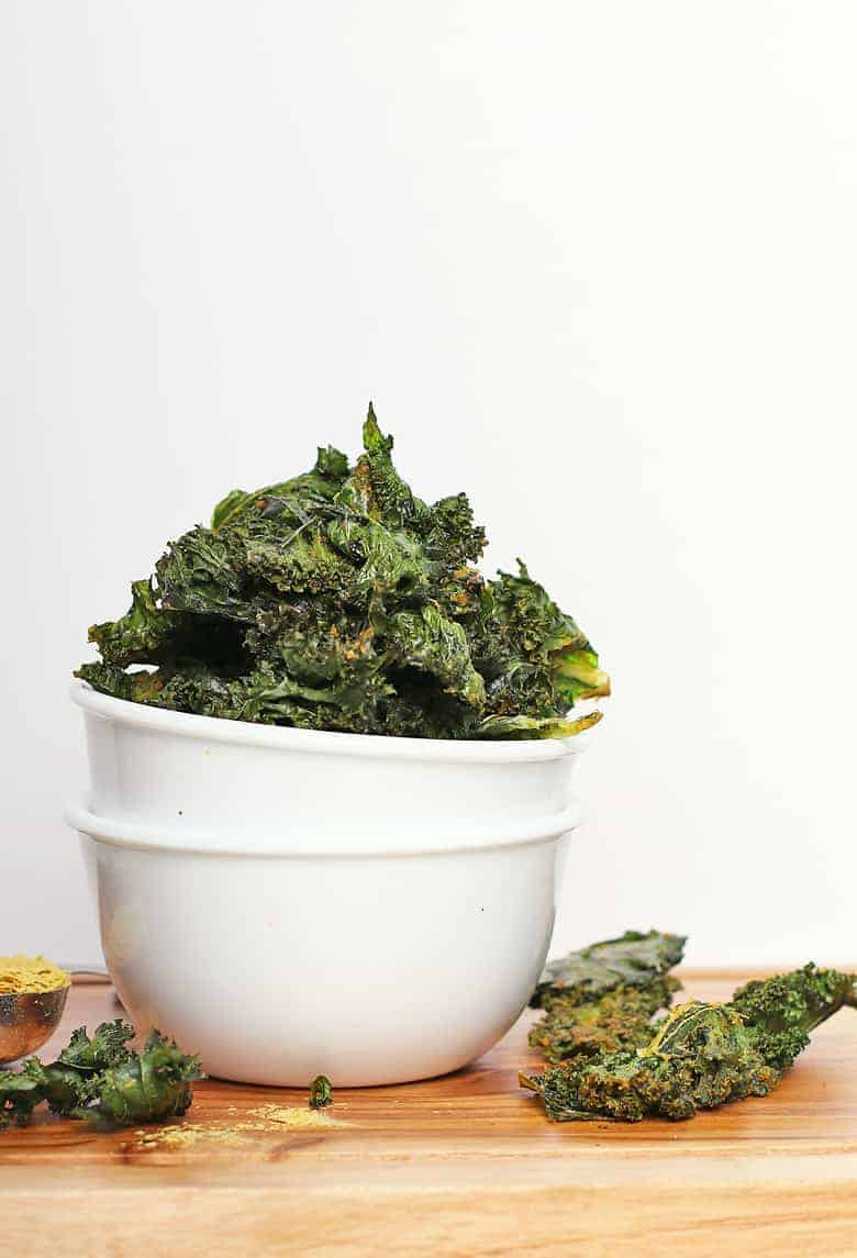 Bowl of vegan kale chips