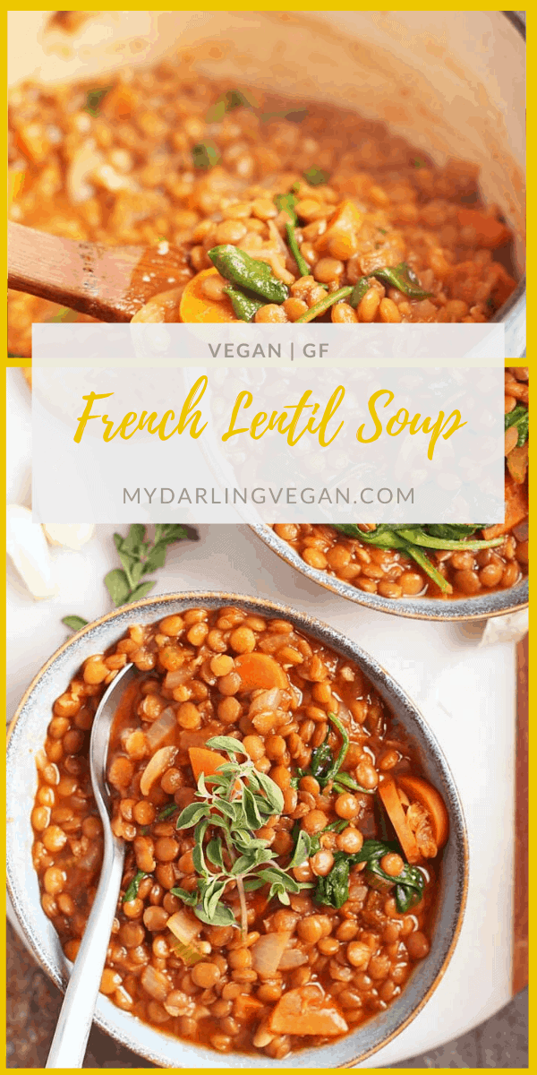 This One-Pot Lentil Soup Recipe is the perfect fall soup. Made with root vegetables, brown lentils, and fresh herbs, it's an easy, 30-minute, weeknight meal.