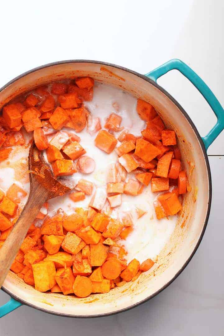 Sweet Potatoes and Coconut Milk in a soup bowl