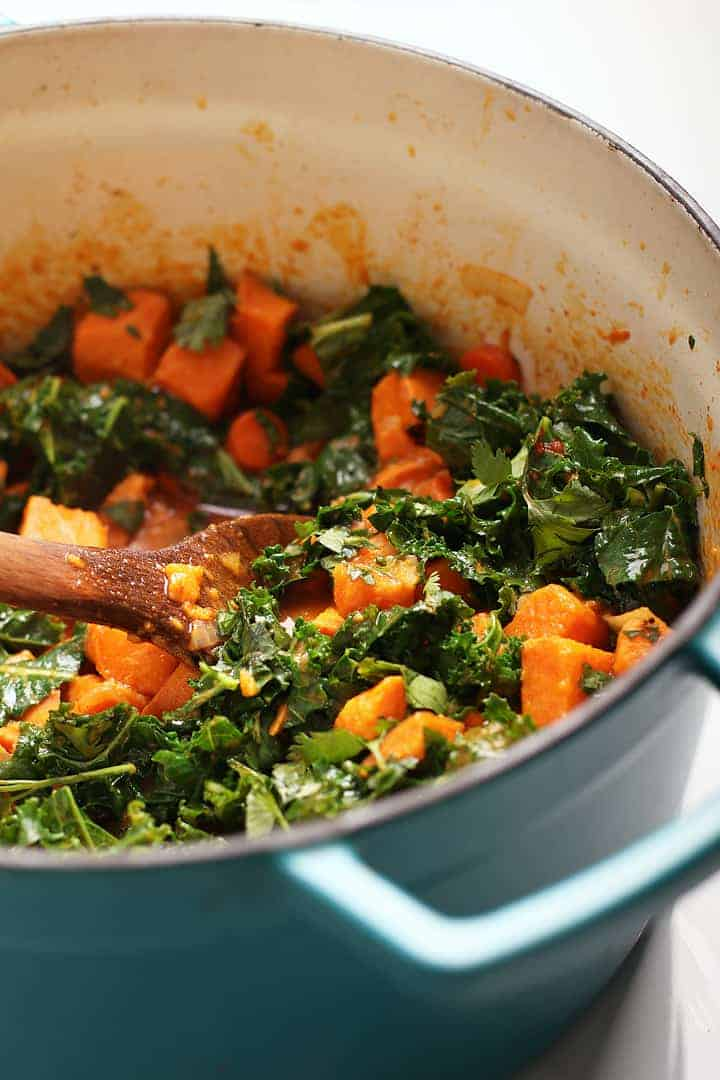 Sweet Potatoes and Kale in a soup pot