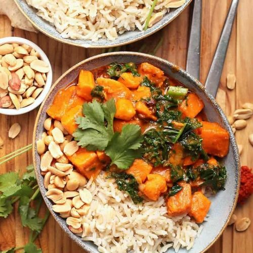 Sweet Potato Curry with rice and peanuts