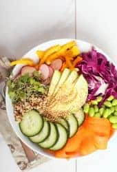 Rainbow Nourish Bowl on white background
