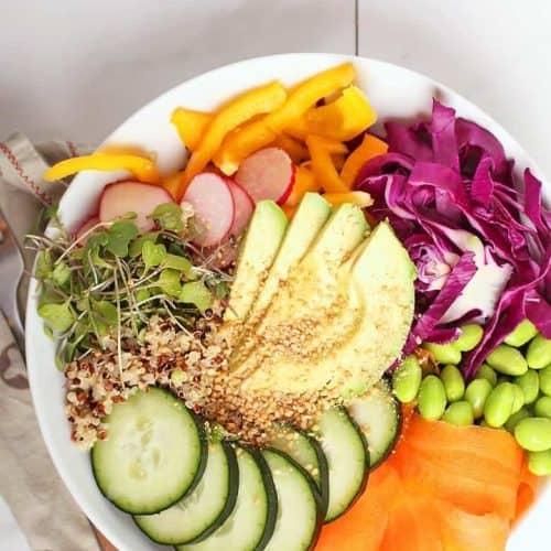 Rainbow Nourish Bowl on white background