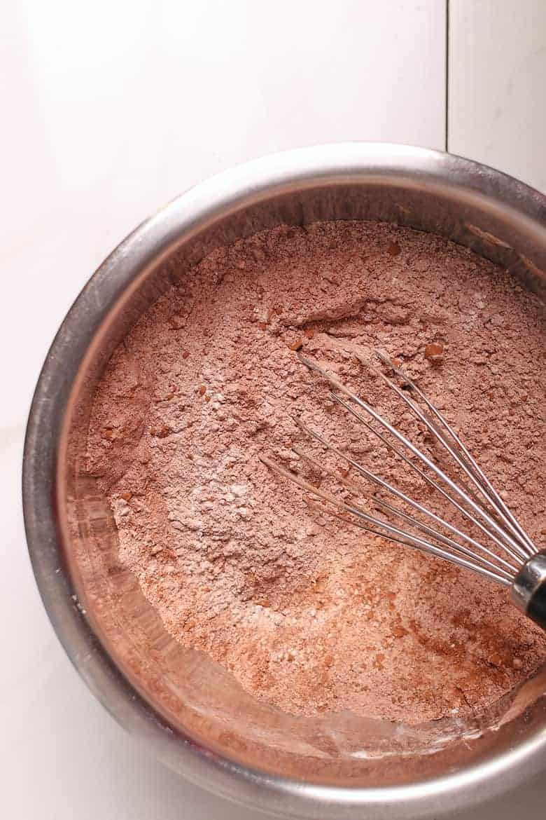 Flour and cocoa powder in a bowl