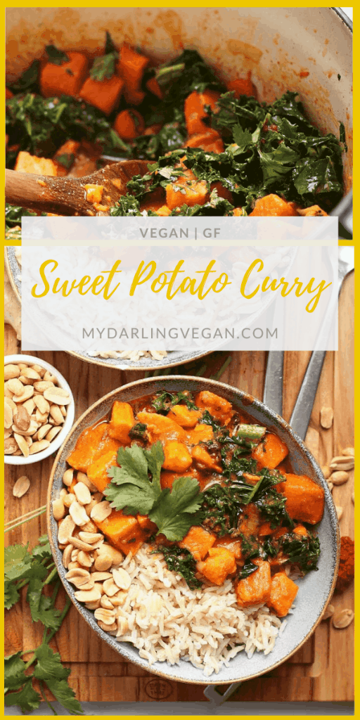 Enjoy this creamy Thai-style Sweet Potato Curry with Kale tonight! Made in just one pot in under 30 minutes, everyone will love this vegan and gluten-free dinner; a healthy and delicious weeknight meal.