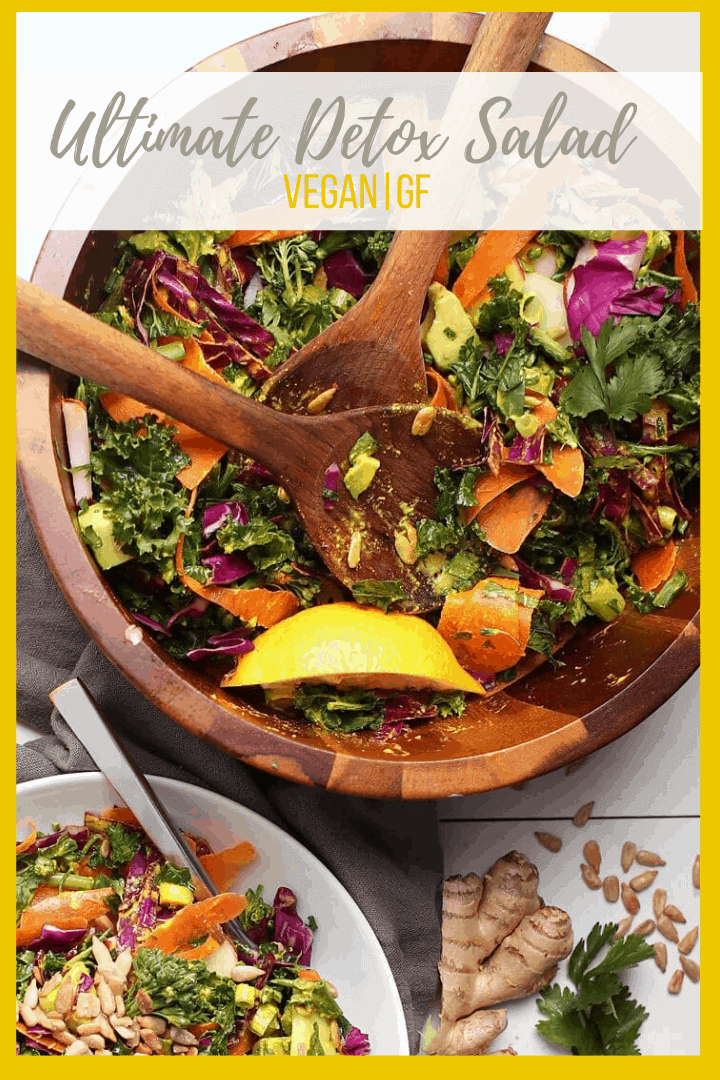 Start your year off with the Ultimate Detox Salad. It's filled with detoxifying vegetables and tossed with a lemon ginger turmeric salad dressing. Made in 10 minutes for a delicious, hearty, and healthy meal.