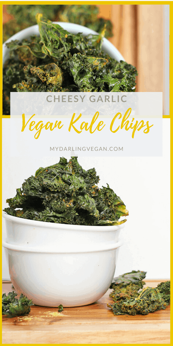 Learn how to make the perfectly crispy vegan kale chips. These chips are seasoned with nutritional yeast and garlic powder for a delicious and healthy snack. Made in just 25 minutes!