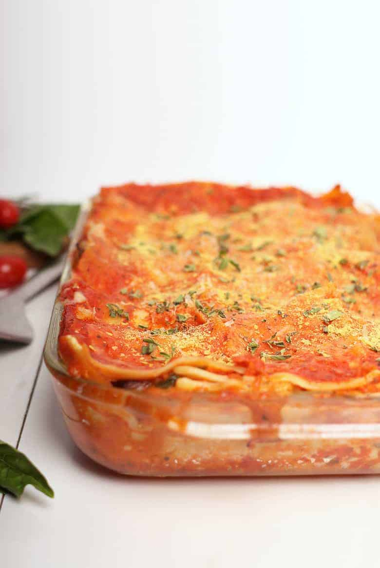 Finished lasagna in a casserole dish