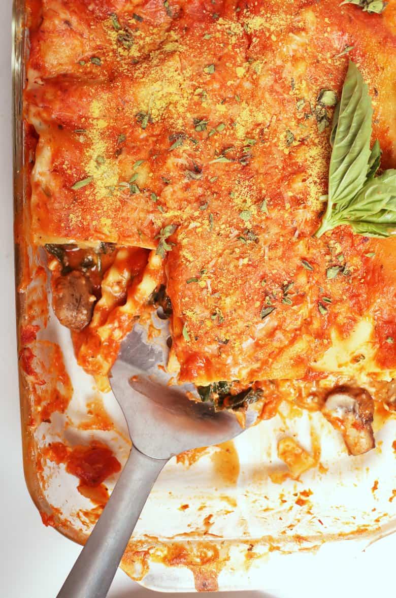 Vegan lasagna in a casserole disy