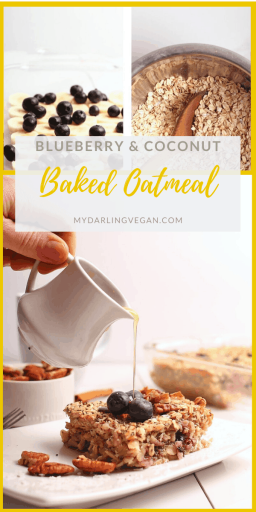 Start your day off with this delicious vegan and gluten-free baked oatmeal. Made with bananas, blueberries, and coconut for a sweet and creamy heart-healthy breakfast. Just 10 minutes of prep time!