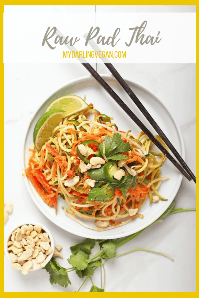 A healthy and refreshing salad, this raw Pad Thai is made with zucchini noodles, carrots, bell peppers, and fresh herbs. All topped with a homemade jalapeño almond sauce for a delicious and hearty meal. Made in under 30 minutes!