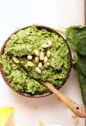 Vegan pesto in a small dish