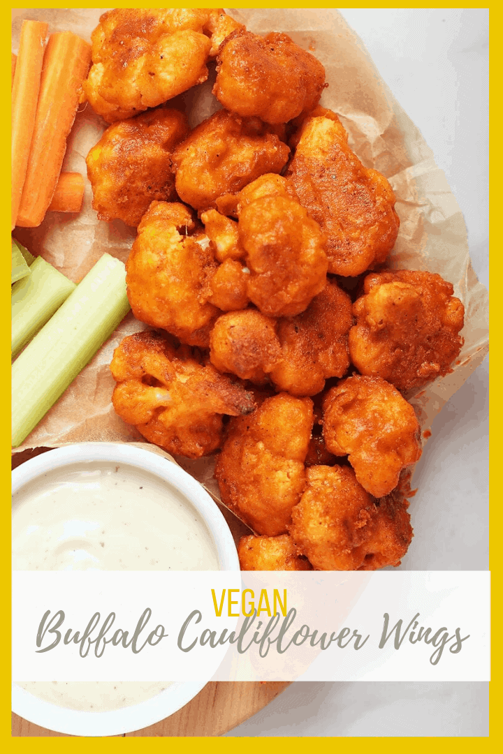 Get your snack on with these spicy buffalo cauliflower wings - coated, breaded and baked, these cauliflower wings are then dipped in spicy homemade buffalo sauce. Served with vegan ranch dressing for an incredible plant-based snack.