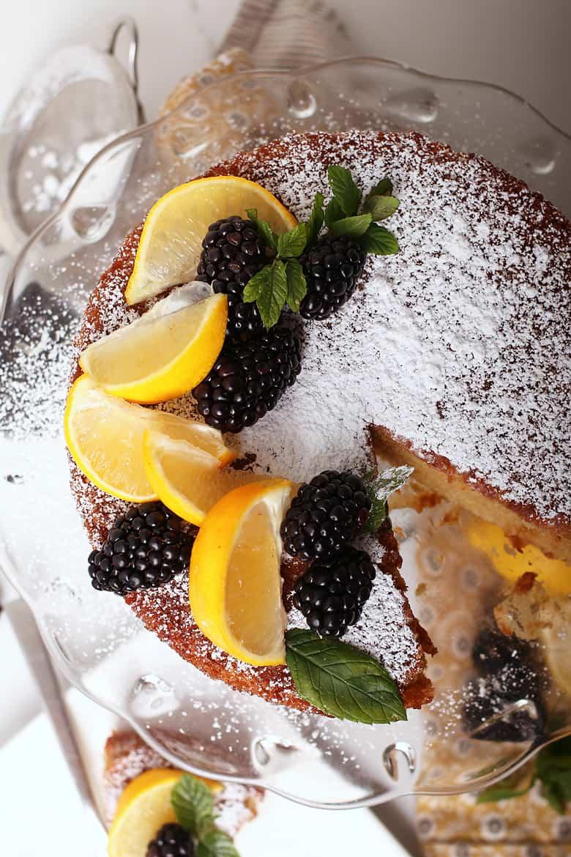 Vegan Olive Oil Cake on cake stand