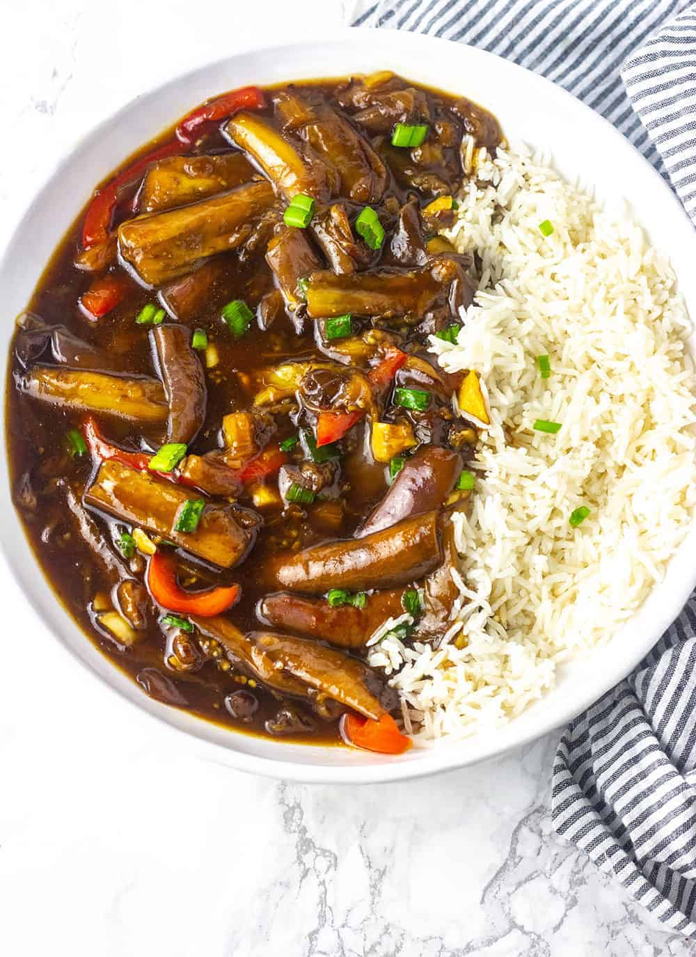 Chinese Eggplant in Garlic Sauce with rice