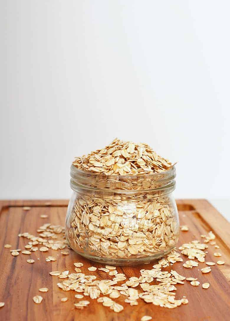 Oats in a glass jar