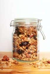 Mason jar filled with chunky granola