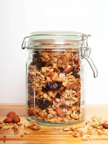 Mason jar filled with chunky granola
