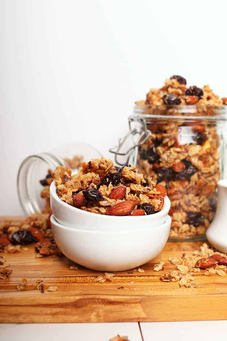 Cherry Almond Granola in a white bowl