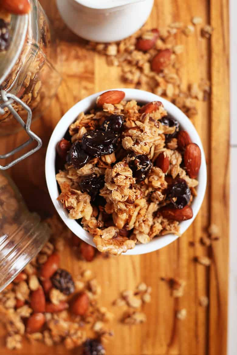 Overhead shot of homemade granola with cherries and almonds