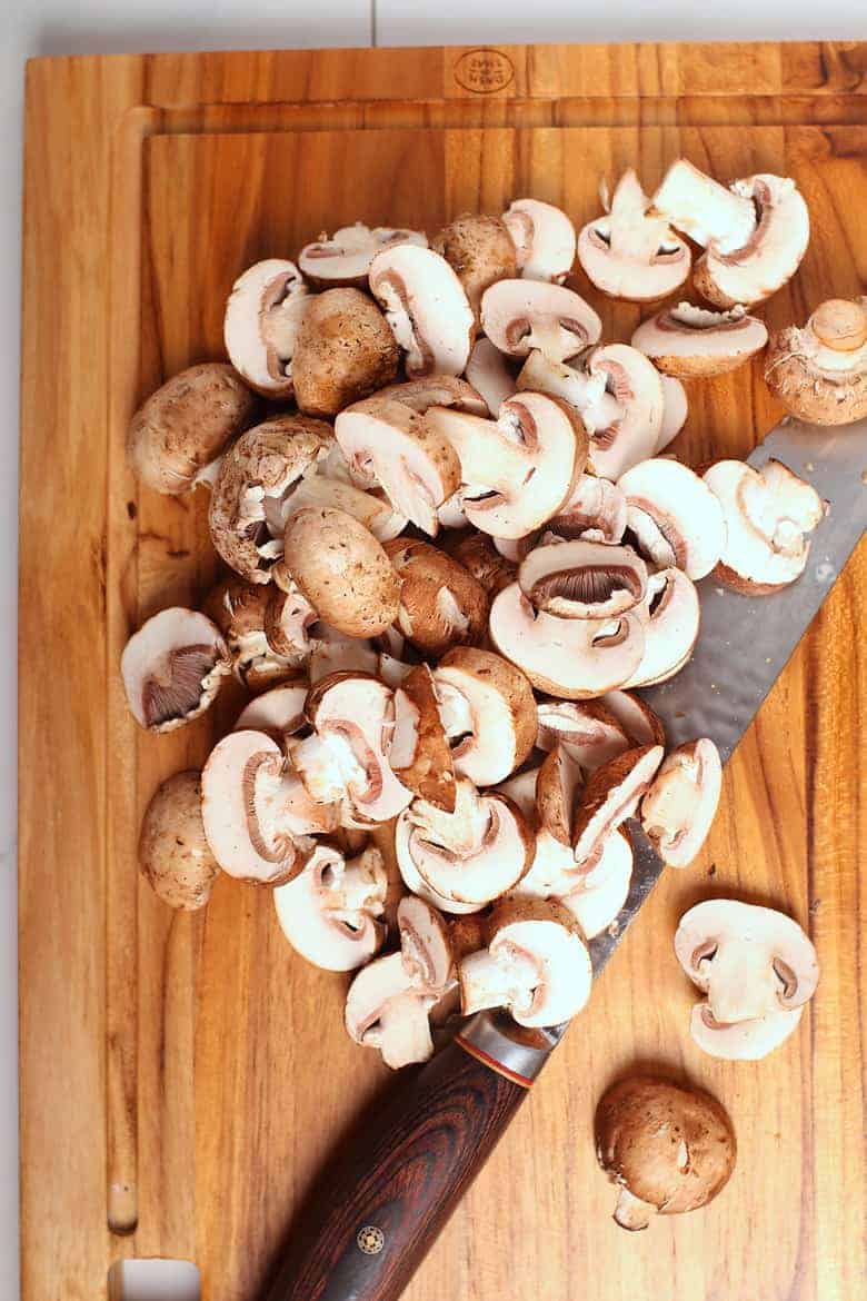 Chopped button mushrooms