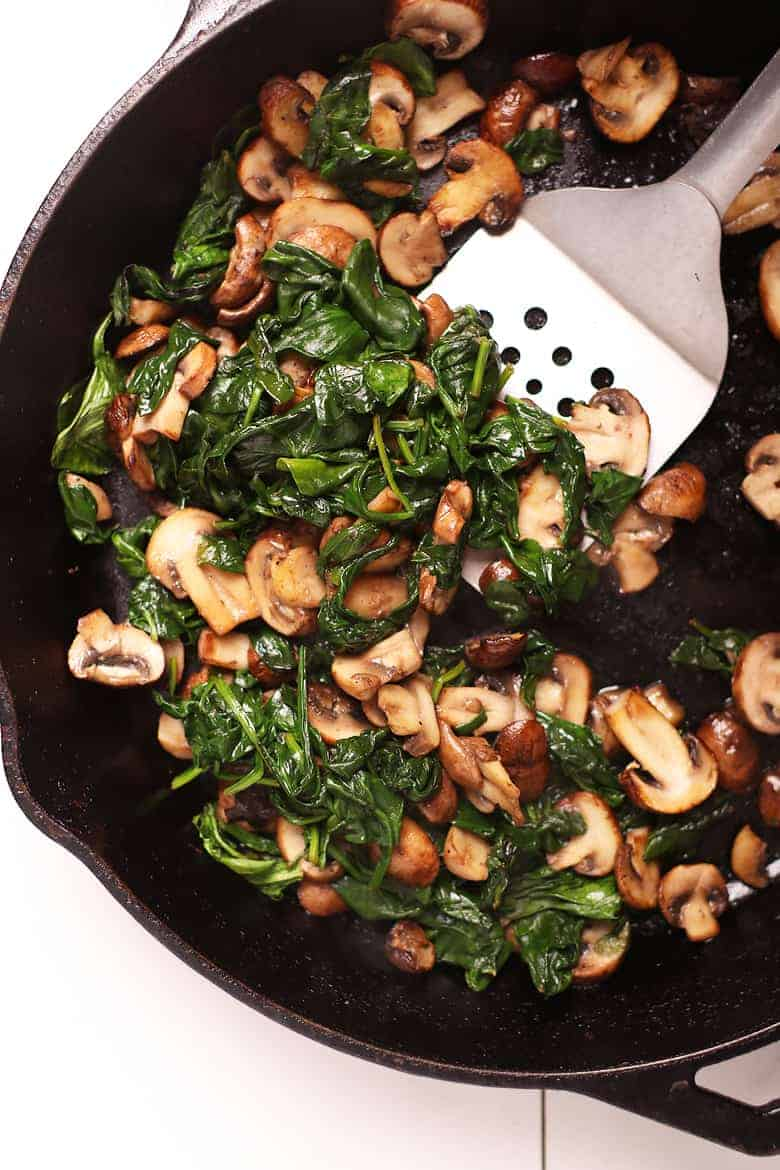 Sautéed mushrooms and spinach