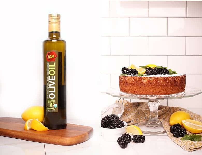 Bari olive oil next to vegan olive oil cake.