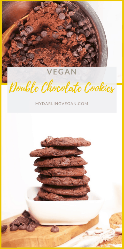 These ultra-fudgy, super chewy, vegan chocolate cookies are made even better with melt-in-your-mouth chocolate chips in every bite. Made in under 30 minutes for a DELICIOUS vegan cookie. Beware, these cookies are highly addictive!