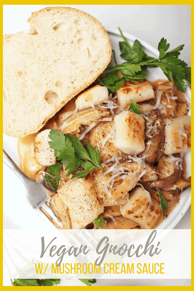 Homemade vegan gnocchi made without eggs for an easy-to-follow 3-ingredient recipe. Toss it with a mushroom cream sauce for a rich and decadent meal.