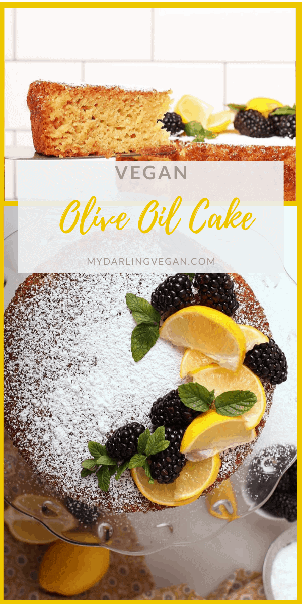 Vegan olive oil cake filled with lemon zest for deliciously subtle flavors and an ultra moist delicate crumb; a decadent and beautiful dessert.