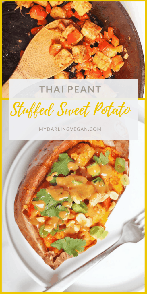 These Thai-Style Stuffed Sweet Potatoes are filled with Peanut-Ginger Tempeh, sautéed garlic and ginger, cilantro, and red bell peppers. All topped with a Thai Peanut Sauce for a delicious vegan and gluten-free meal.