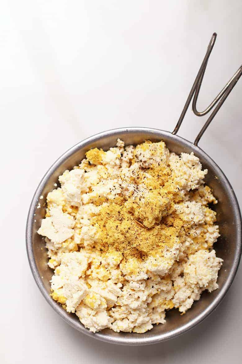 Tofu scrambled with nutritional yeast