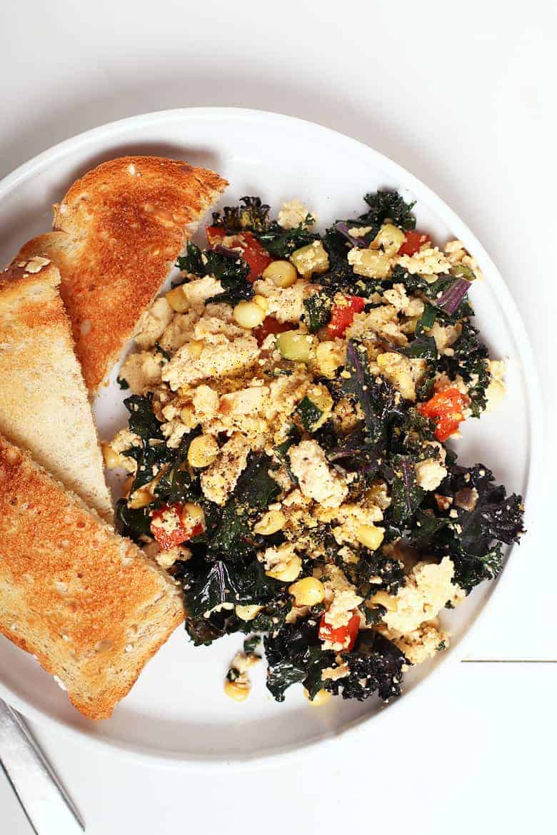 Vegan Tofu Scramble with Toast