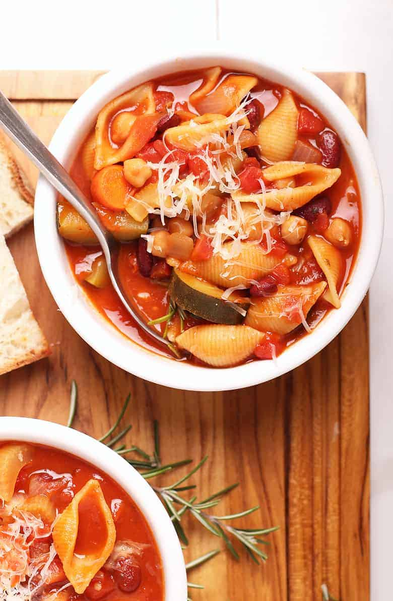 Bowl of vegan minestrone soup