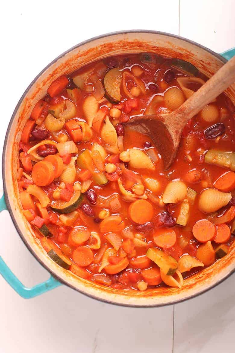 Minestrone soup in a large soup pot